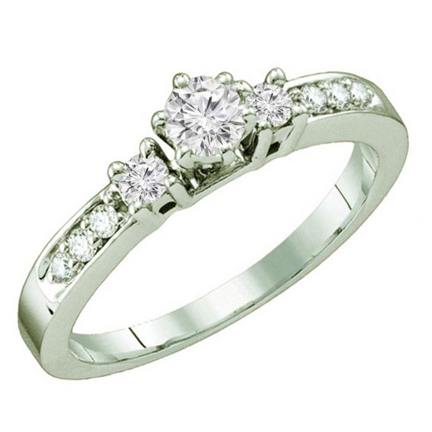0.40 Carat (ctw) 14k White Gold Round White Diamond Ladies 3 Stone Bridal Engagement Ring