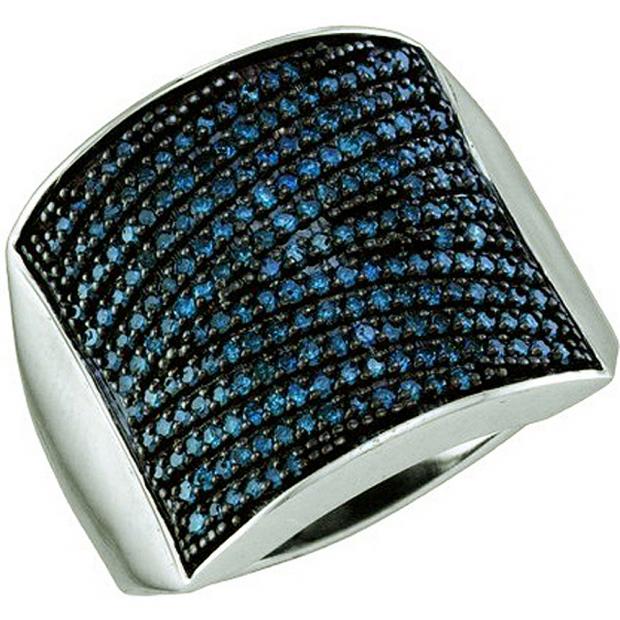 1.01 Carat (ctw) 10k White Gold Round Blue Diamond Ladies Right Hand Fashion Band