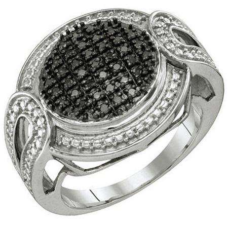 0.24 Carat (ctw) Sterling Silver Blue Diamond Ladies Micro Pave Right Hand Ring