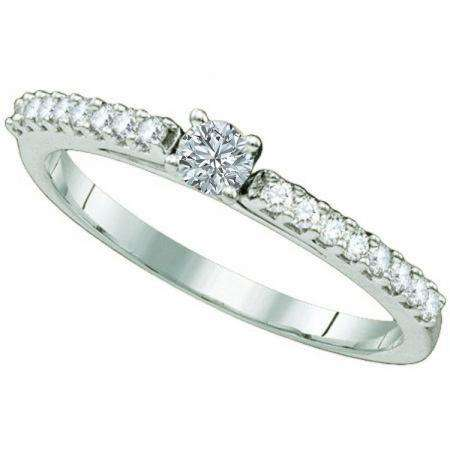 0.24 Carat (ctw) 14k White Gold Round Diamond Ladies Solitaire with Accents Bridal Engagement Ring