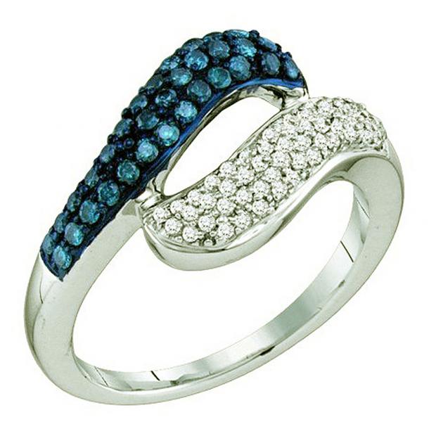 0.50 Carat (ctw) 10k White Gold Round Blue & White Diamond Ladies Right Hand Ring