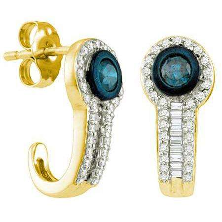 0.65 CT 10k Yellow Gold Round & Baguette Cut Blue & White Diamond Earrings