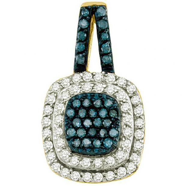0.50 Carat (ctw) 10k Yellow Gold Round Blue & White Diamond Ladies Pendant