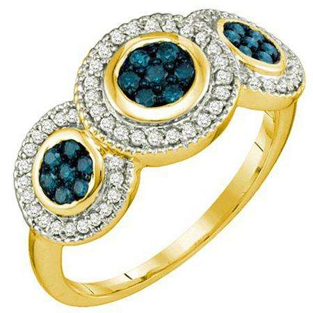0.51 Carat (ctw) 10k Yellow Gold Round Blue & White Diamond Ladies Cocktail Right Hand Ring