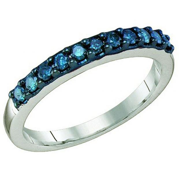 0.33 Carat (ctw) 10k White Gold Round Blue Diamond Ladies Wedding Anniversary Stackable Band
