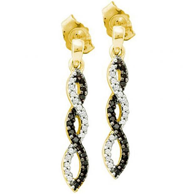 0.15 Carat (ctw) 14k Yellow Gold Black & White Diamond Ladies Infinity Swirl Dangling Earrings