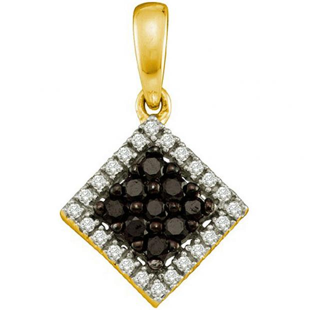 0.29 Carat (ctw) 14k Yellow Gold Black & White Diamond Ladies Square Shape Pendant