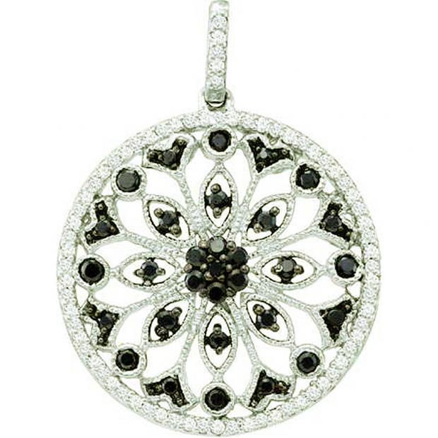 0.48 Carat (ctw) 14k White Gold Round Black & White Diamond Ladies Circle Pendant