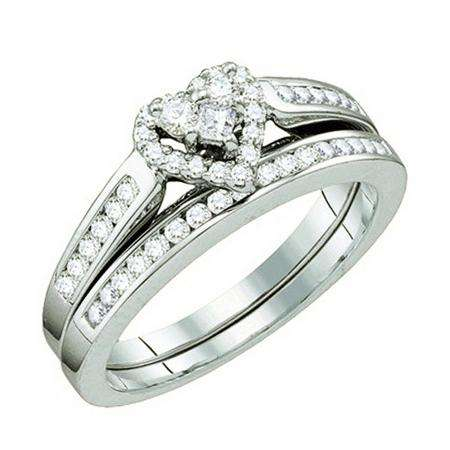 0.55 Carat (ctw) 10k White Gold Round White Diamond Ladies Bridal Heart Shape Engagement Ring Set