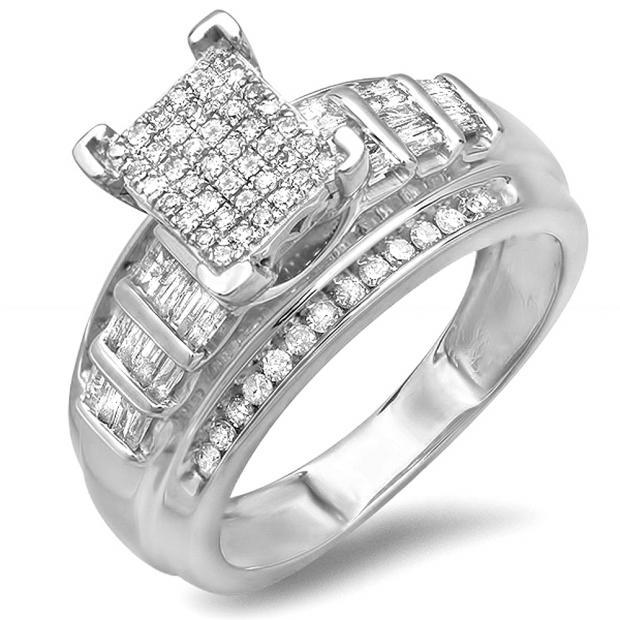 0.66 Carat (ctw) Sterling Silver Round & Baguettes Cut Diamond Ladies Bridal Engagement Ring