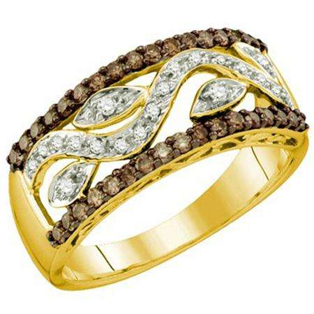 0.48 Carat (ctw) 10k Yellow Gold Round Champagne & White Diamond Ladies Right Hand Band