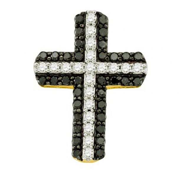 0.80 Carat (ctw) 10k Yellow Gold Round Black & White Diamond Ladies Cross Pendant