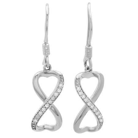 Heart Shaped Sterling Silver Earrings With Micro Pave of CZs .5 TCW