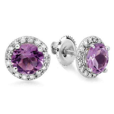 3.00 Carat (ctw) 18K White Gold Round Purple Amethyst & White Diamond Ladies Halo Style Stud Earrings 3 CT