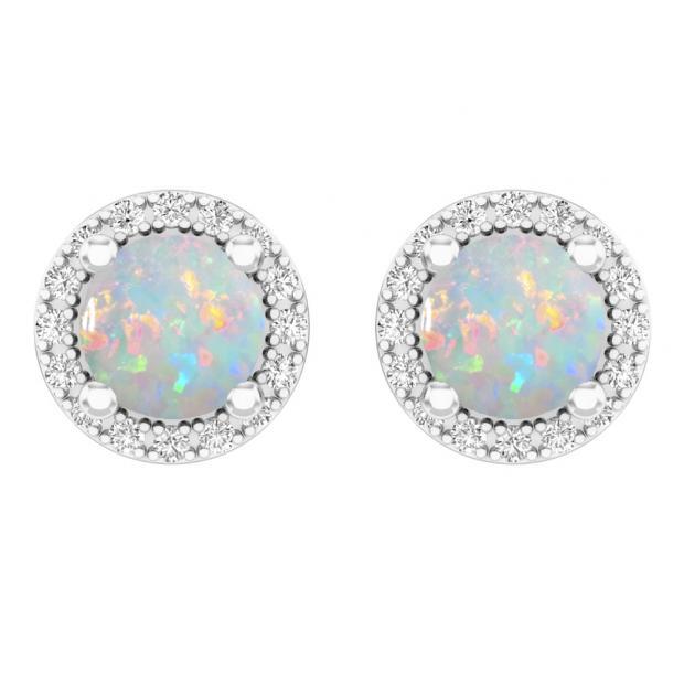 70814a0da 14K White Gold Round Opal & White Diamond Ladies Halo Stud Earrings