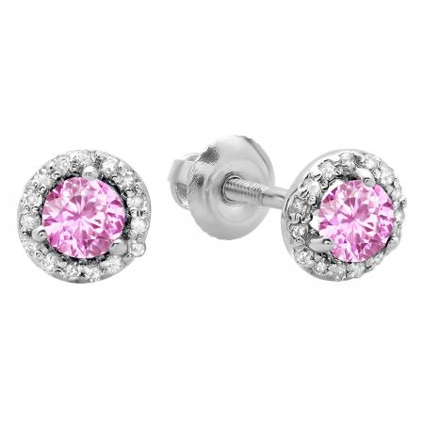0.50 Carat (ctw) 14K White Gold Round Pink Sapphire & White Diamond Ladies Halo Style Stud Earrings 1/2 CT