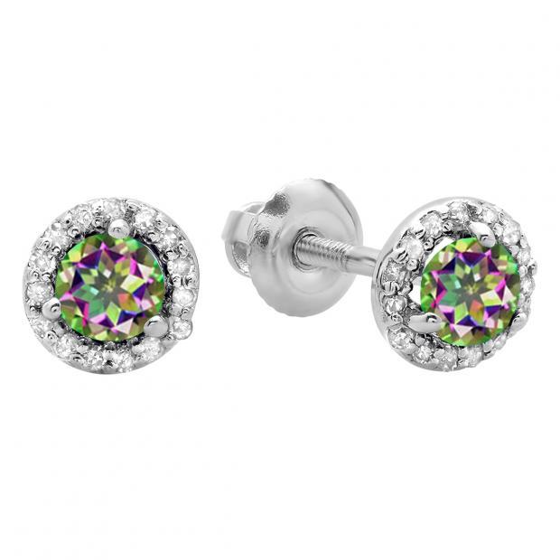 17d3ec121 0.50 Carat (ctw) 14K White Gold Round Rainbow Topaz & White Diamond Ladies  Halo Style Stud Earrings 1/2 CT