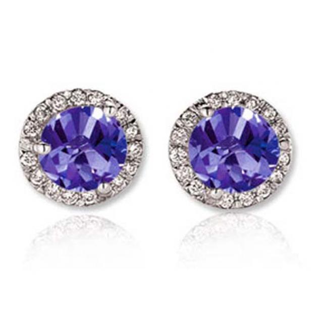 3.00 Carat (ctw) 18K White Gold Round Tanzanite & White Diamond Ladies Halo Style Stud Earrings 3 CT