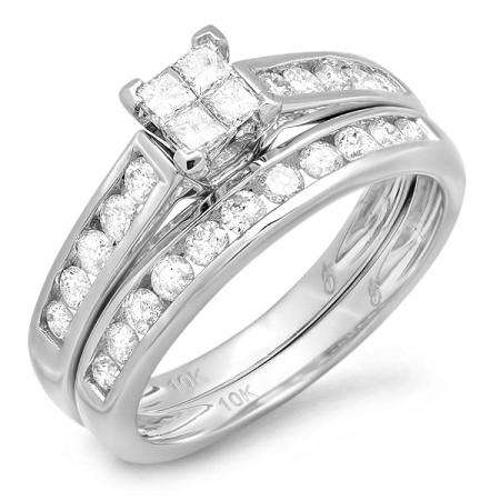 1.00 Carat (ctw) 10k White Gold Princess and Round Diamond Ladies Bridal Engagement Ring Matching Band Set