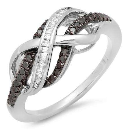 0.25 Carat (ctw) Sterling Silver Round & Baguette Cut Black & White Diamond Ladies Swirl Infinity Wedding Ring 1/4 CT