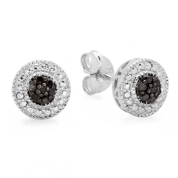 0.10 Carat (ctw) Sterling Silver Round Black Diamond Ladies Cluster Stud Earrings 1/10 CT
