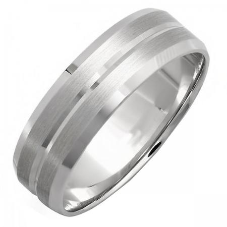 392cb668d 14k White Gold Mens Wedding Band Traditional Fit Grooved Brushed ...