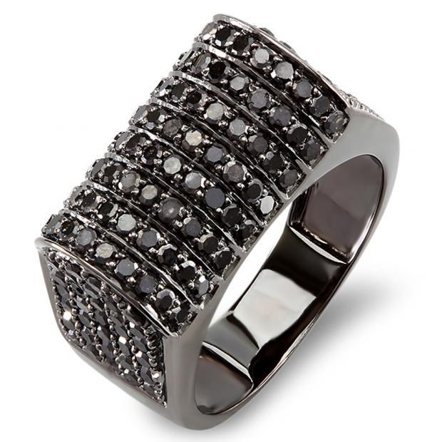 d08611af936a8f 2.50 Carat (ctw) 10k Black Rhodium Plated White Gold Round Black Diamond  Mens Hip Hop Pinky Ring