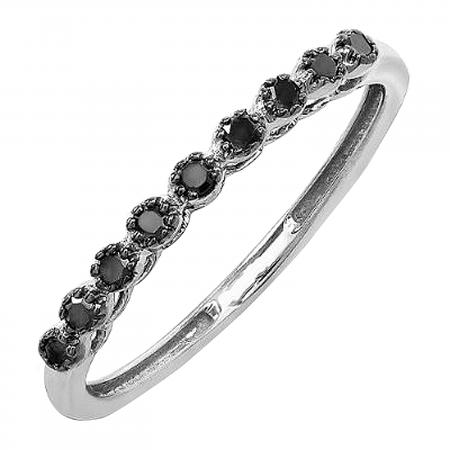 0.20 Carat (ctw) 10K White Gold Round Black Real Diamond Wedding Anniversary Stackable Matching Band 1/5 CT