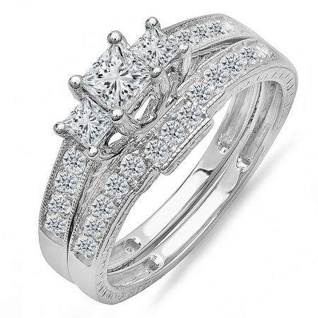 Size 7.5 Sterling Silver White Diamond Ladies Engagement Ring Set 1//4 CT