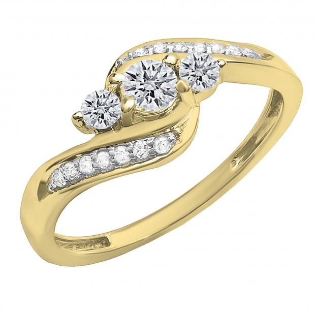 0.50 Carat (ctw) 10k Yellow Gold Round Diamond Ladies Swirl Engagement 3 Stone Bridal Ring 1/2 CT
