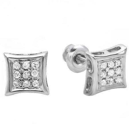 Dazzlingrock Collection 0.10 Carat Real Diamond Kite Shape Mens Hip Hop Iced Stud Earrings Sterling Silver ctw