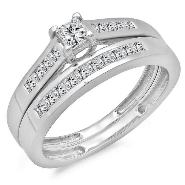 0.55 Carat (ctw) 14k White Gold Princess Diamond Ladies Bridal Engagement Ring Matching Band Set