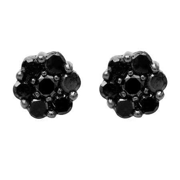 0.40 Carat (ctw) Black Plated 10K White Gold Black Round Cut Diamond Cluster Flower Stud Earrings