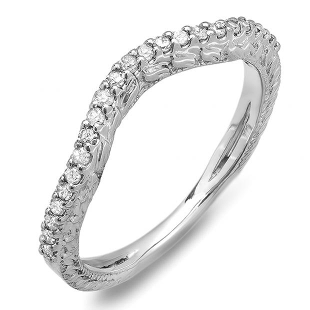 0.25 Carat (ctw) 14k White Gold Round Diamond Ladies Anniversary Wedding Band Enhancer Guard 1/4 CT