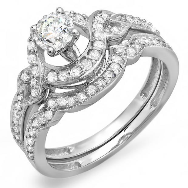 0.75 Carat (ctw) 14k White Gold Round Diamond Ladies Swirl Bridal Halo Engagement Ring Matching Band Set 3/4 CT