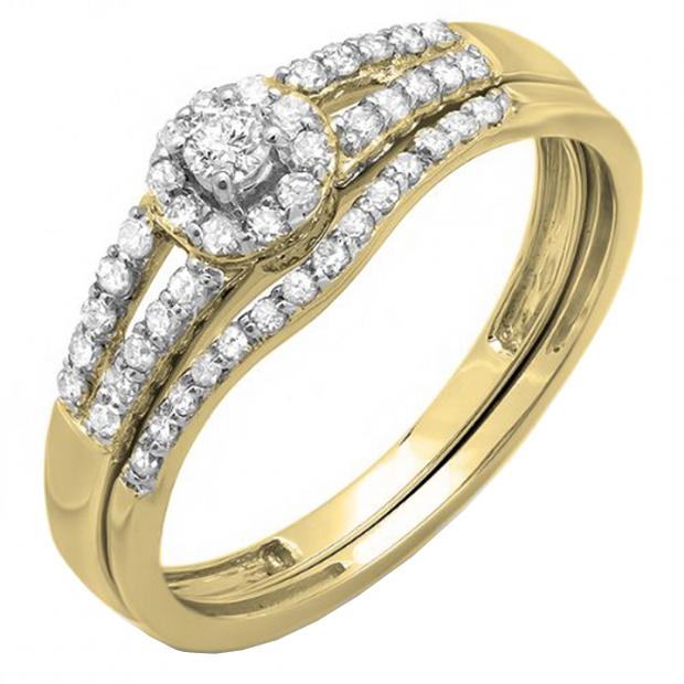 0.40 Carat (ctw) 10k Yellow Gold Round Diamond Ladies Split Shank Halo Style Bridal Engagement Ring Matching Band Set