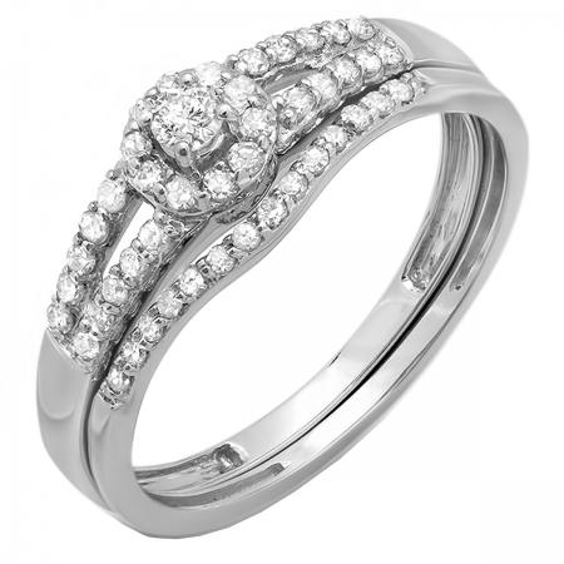 0.40 Carat (ctw) 14k White Gold Round Diamond Ladies Split Shank Halo Style Bridal Engagement Ring Matching Band Set