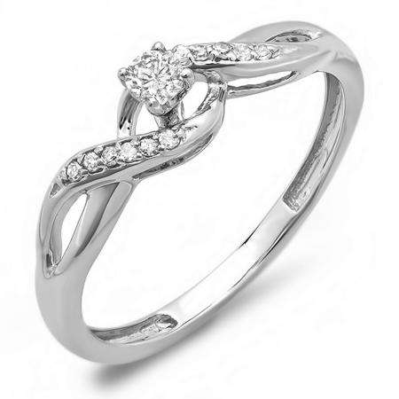 0.20 Carat (ctw) 10k White Gold Round Diamond Crossover Swirl Ladies Bridal Promise Engagement Ring