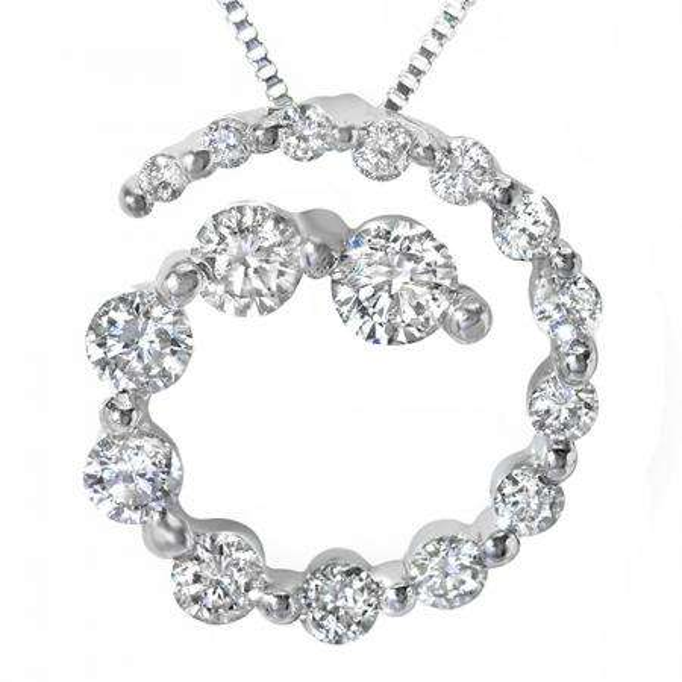 0.75 Carat (ctw) 14k White Gold Round Diamond Ladies Spiral Journey Graduating Circle Pendant 3/4 CT