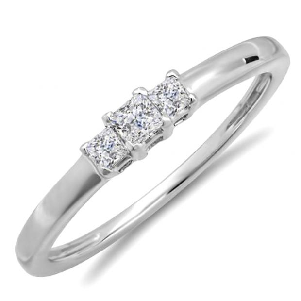 0.25 Carat (ctw) 14k White Gold Princess Diamond Ladies Bridal 3 Stone Engagement Ring