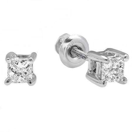 299674533 IGI CERTIFIED 0.22 Carat (ctw) 14K White Gold Princess Cut White Diamond  Ladies Solitaire Stud Earrings 1/4 CT