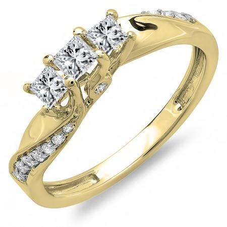 0.50 Carat (ctw) 10k Yellow Gold Princess and Round Diamond Ladies 3 Stone Swirl Engagement Bridal Ring 1/2 CT