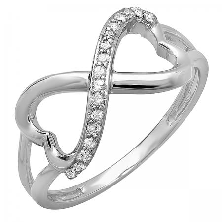0.15 Carat (ctw) 18k White Gold Round Diamond Ladies Promise Two Double Heart Infinity Love Engagement Ring