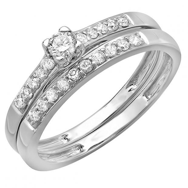 0.40 Carat (ctw) 10k White Gold Round Diamond Ladies Bridal Engagement Ring Matching Band Wedding Set
