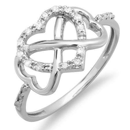 0.15 Carat (ctw) Sterling Silver Round White Diamond Ladies Promise Three Heart Infinity Love Engagement Ring