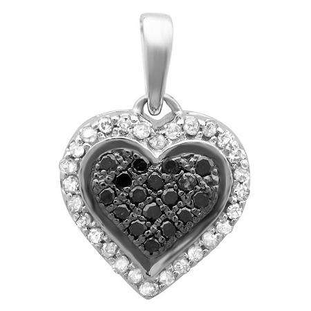 0.15 Carat (ctw) Sterling Silver Round Black and White Diamond Ladies Heart Pendant