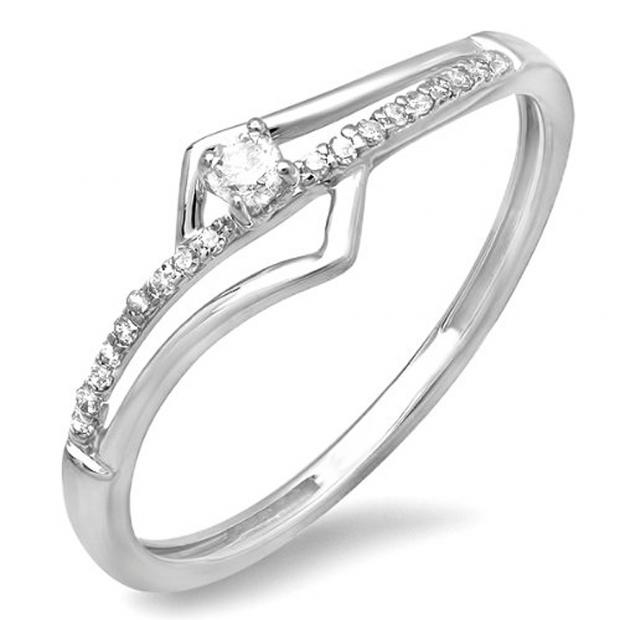 0.10 Carat (ctw) 10k White Gold Round Diamond Wave Ladies Bridal Promise Engagement Ring 1/5 CT