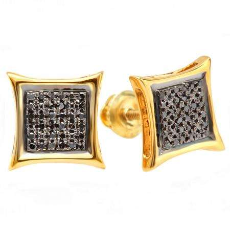 0.15 Carat (ctw) 18K Yellow Gold Plated Sterling Silver Black Round Diamond Micro Pave Setting Kite Shape Stud Earrings