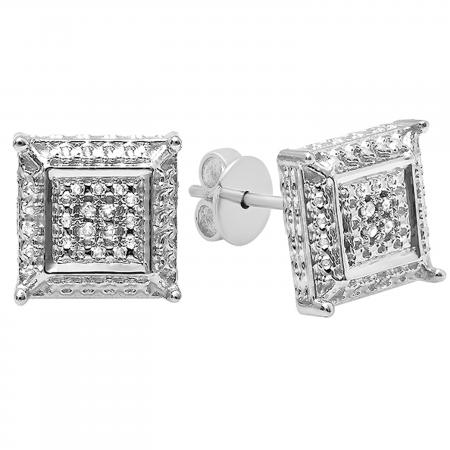 0.05 Carat (ctw) Round White Diamond Micro Pave Setting Square Shape Stud Earrings, 10K White Gold