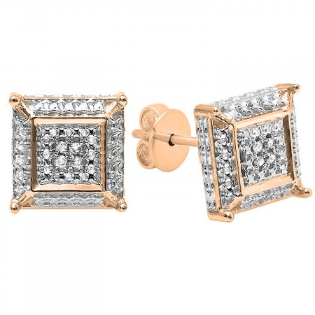 0.05 Carat (ctw) Round White Diamond Micro Pave Setting Square Shape Stud Earrings, 14K Rose Gold